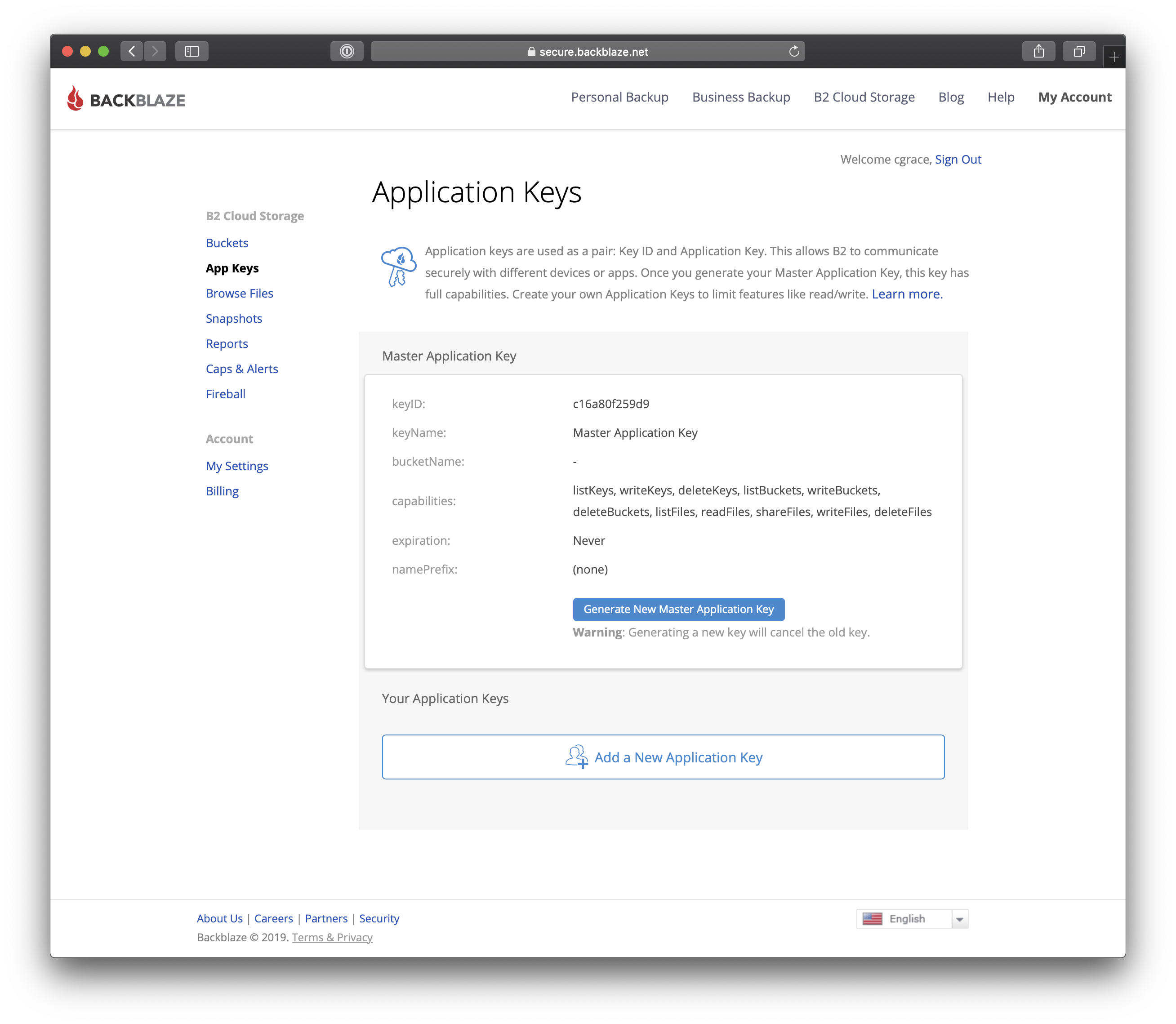 Locating the Master Application Key and Master Application Key ID